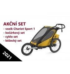 THULE CHARIOT SPORT 1 Spectra Yellow 2021 + bike set + kočárkový set + běžecký set