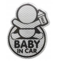 Dekor samolepící BABY IN CAR stříbrný