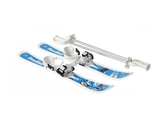HAMAX SNO KIDS CHILDREN'S BLUE CAR DESIGN - Dětské lyže s hůlkami